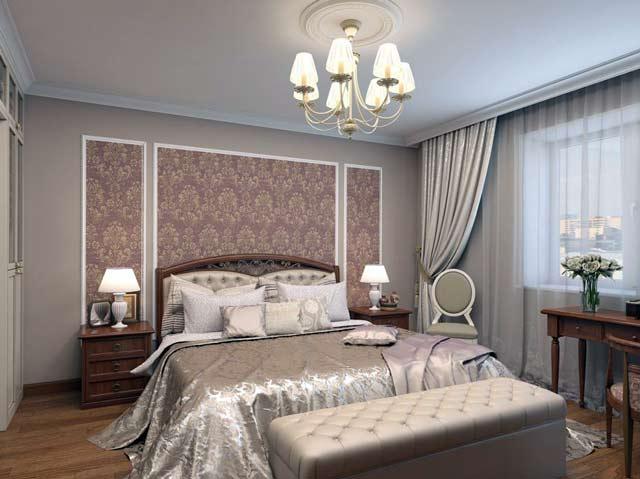 Дамасский рисунок на стене в спальне