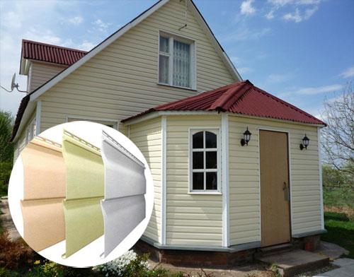 Дом, облицованный виниловым сайдингом.