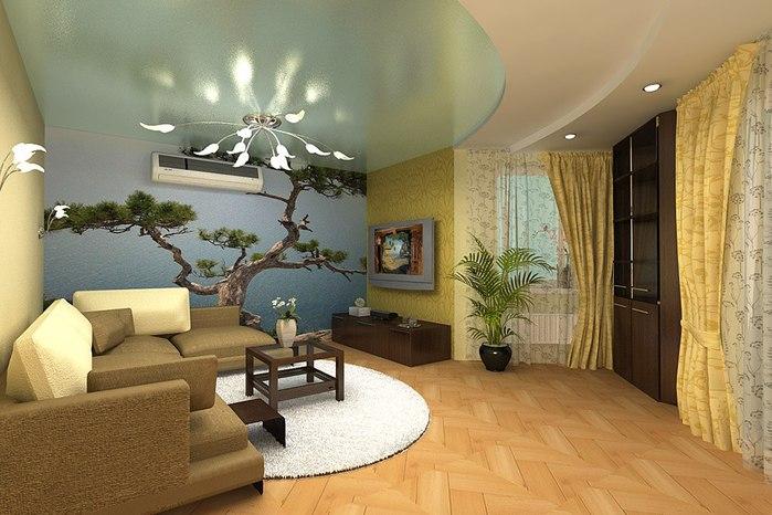 Фотообои и зеркальные потолки призваны зрительно раздвинуть стены небольшой комнаты