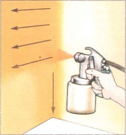 И при использовании краскопульта остается принцип нанесения сверху вниз