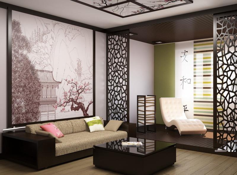 Изящные инсталляции на стенах повторяются в узоре подвесного потолка