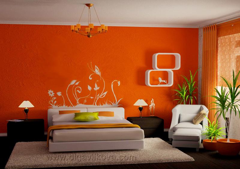 Ремонт комнаты в оранжевом цвете