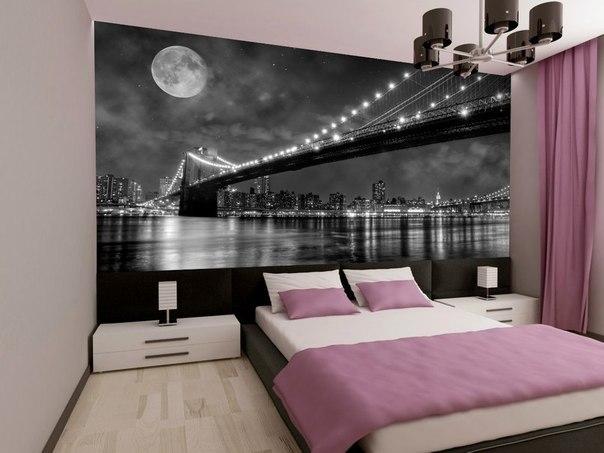 фотообои ночной город в интерьере спальни фото