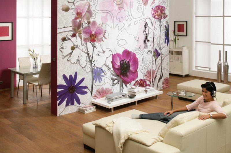 Обои для стен с крупными цветами