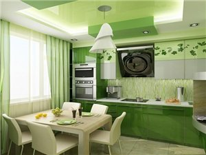 Обои зеленого цвета на кухне
