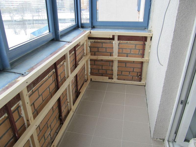 Обрешётка внутренних стенок