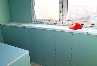 Обшивка балкона плитами ГКЛВ