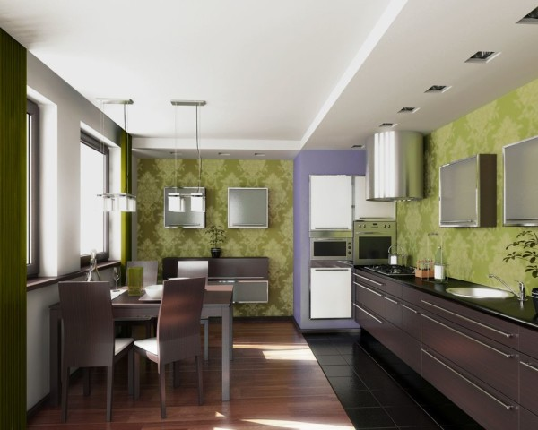 Оформление интерьера современной кухни.