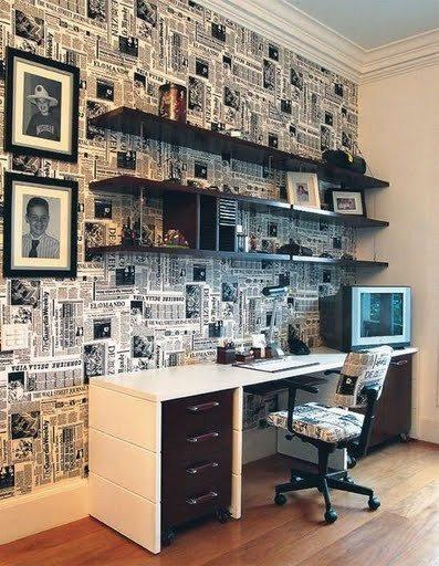 Оклеенная газетами стена