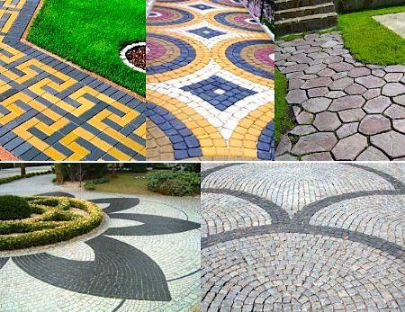 Окрашенная тротуарная плитка в саду