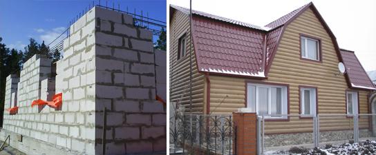 Отделка фасада дома из газосиликатных блоков сайдингом