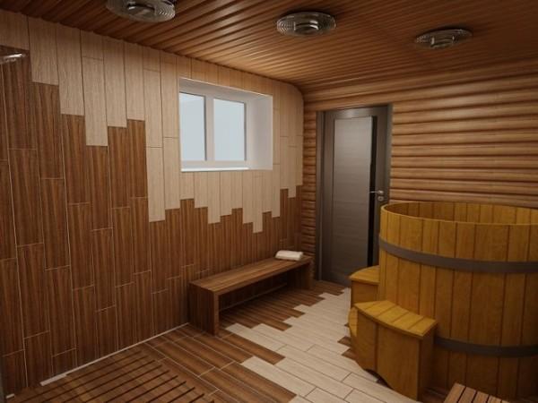 Отделка интерьера японской бани с применением экзотических пород древесины