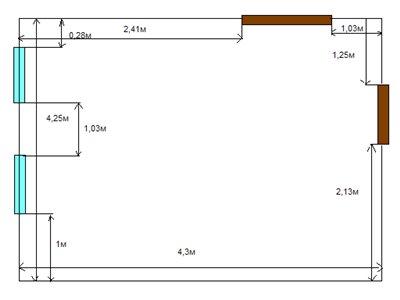 План комнаты с указанием размеров стен.