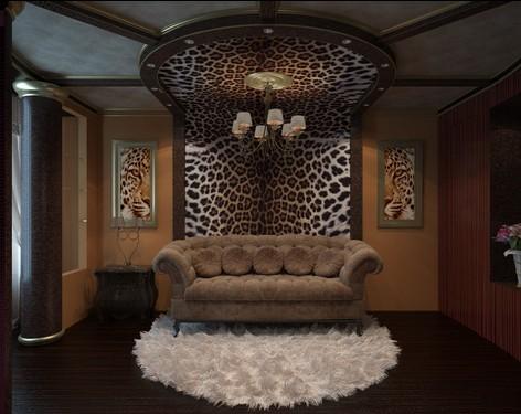 Пример частичного оформления комнаты подобными обоями