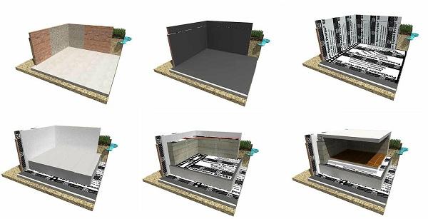 Различные варианты организации гидроизоляции подвальных помещений и цокольных этажей