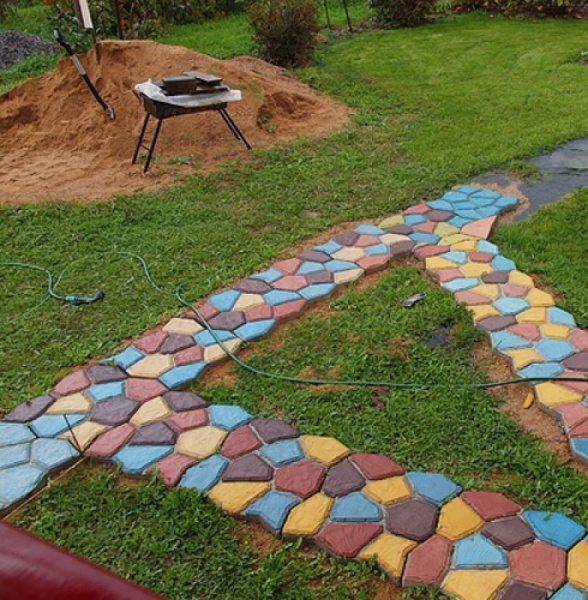 Цветной раствор в изготовлении тротуарной плитки