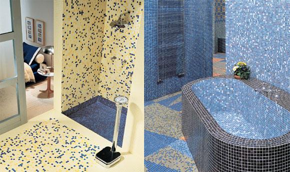 Варианты отделки мозаикой пола в ванной.