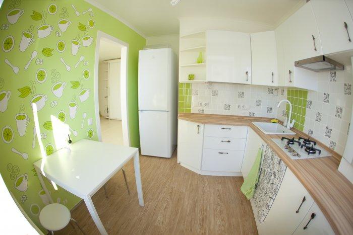 Зеленые стены в кухне будут вполне уместны