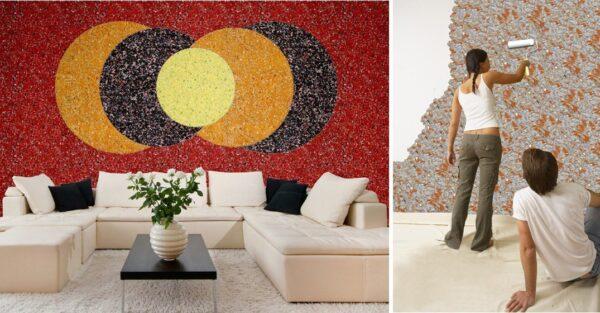 Пример дизайна стены гостиной с жидкими обоями