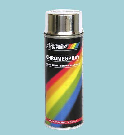 Аэрозольная краска с эффектом хромирования.