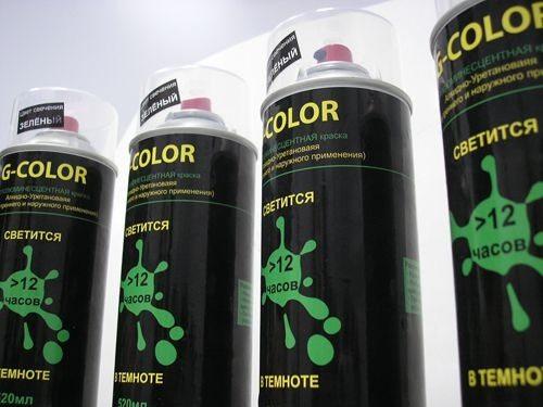 Акриловая светящаяся краска в баллончиках для декорирования дерева, бетона и других поверхностей