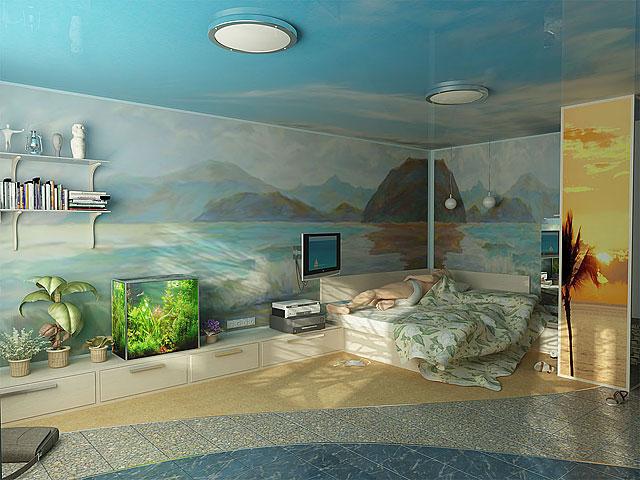 Аквариум отлично дополняет морской стиль комнаты