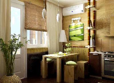 Бамбуковая облицовка в кухне.