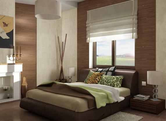 Бамбуковые вставки в отделке интерьера спальни.