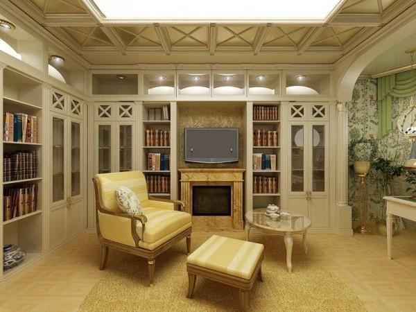 Часто материалы для отделки стен в гостиной только угадываются – они закрываются другими элементами оформления (фото «B»)