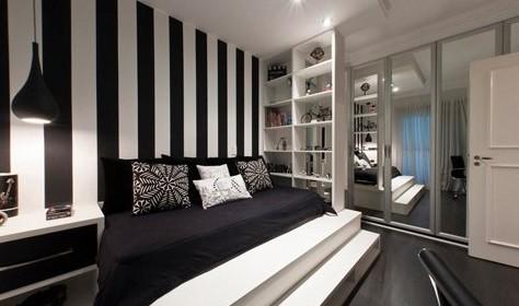 Черно-белые обои для спальни в полоску
