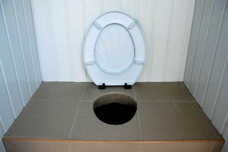 Дачный туалет на фото отделан пластиковой вагонкой.