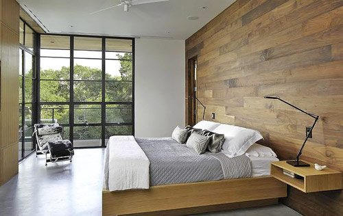 Деревянные обои в интерьере спальни