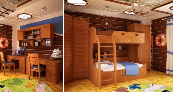 Детская комната отлично смотрится с различными пиломатериалами