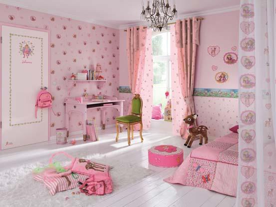 Детские обои для девочек розового цвета