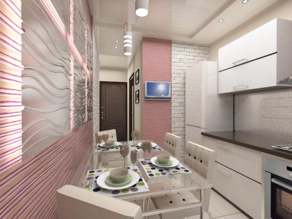 Дизайн кухни с использованием 3-D панелей