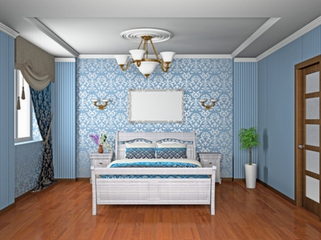 Дизайн оклейки обоев в спальне –комбинация однотонного покрытия