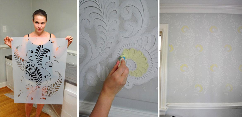 Дизайн стен с помощью трафарета – просто и красиво
