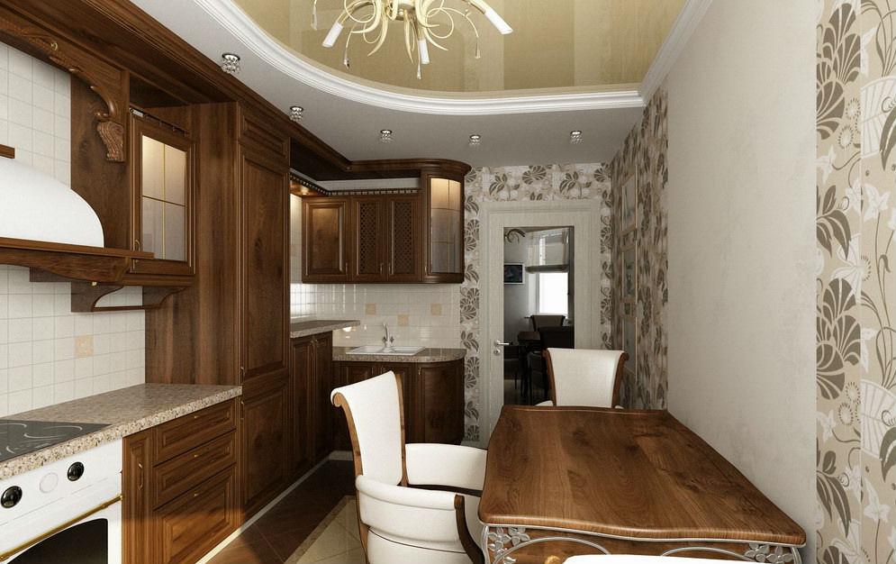 Дизайн стен в классической кухне