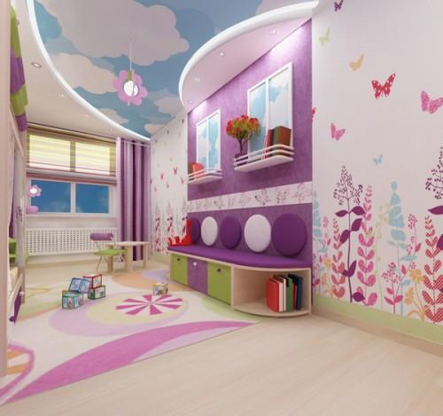 Для детской комнаты отлично подойдет аппликация, изготовленная из различных видов тематических обоев