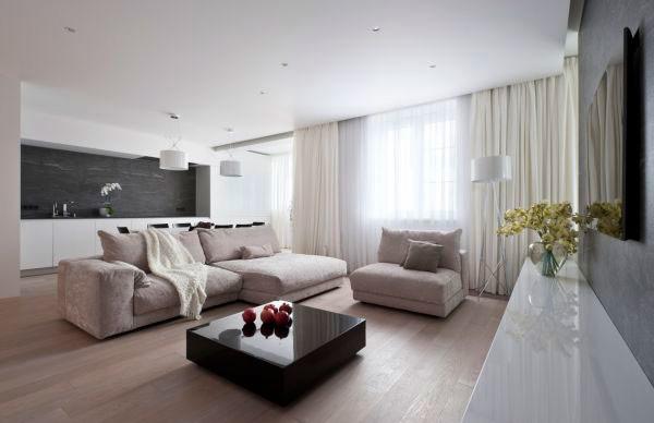 Для просторных помещений лучше выбрать матовое или сатиновое полотно, для тесных и невысоких - глянцевое