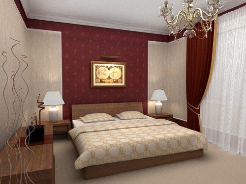 Для создания оригинального акцента можно оклеить бордовым покрытием только одну из стен или ее часть