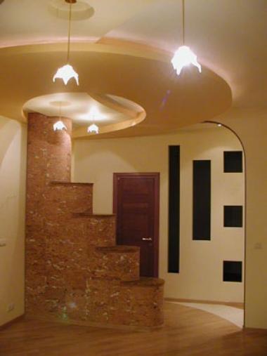Эффектное зонирование небольшого пространства при помощи гипсокартонных конструкций