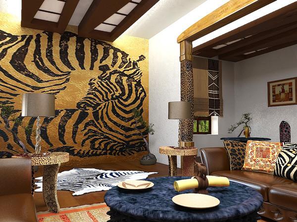 Этот интерьер насыщен экзотическими элементами Африки. Все детали подобраны профессионально.