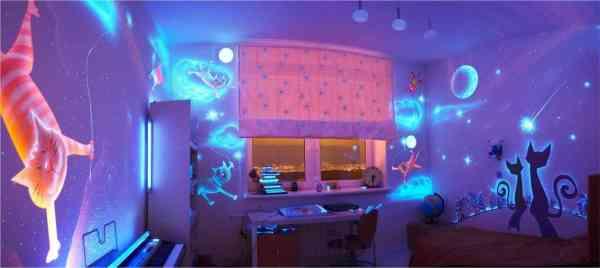 Флуоресцентная краска в интерьере