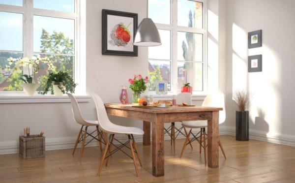 Под массивный стол выберите легкие стулья