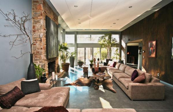 Вариант гостиной с натуральными материалами