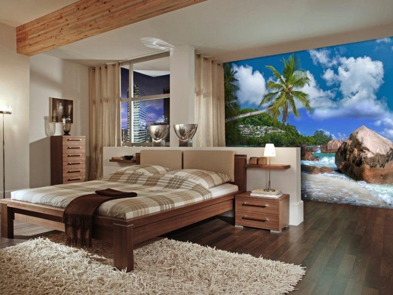Фото дикого пляжа в спальне.