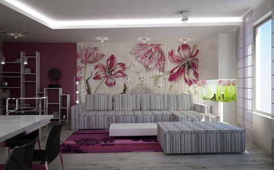 Фото обоев с цветами в интерьере