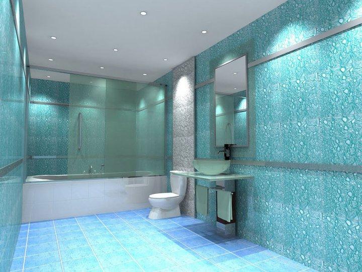 Фото ванной комнаты отделанной обоями жидкого типа