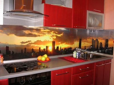 Фотообои для фартука кухни с изображением города
